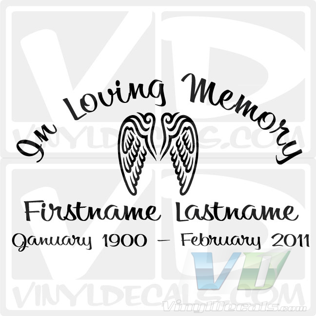 In Loving Memory Script 2 Text with Angel Wings DecalIn Loving Memory Graphics